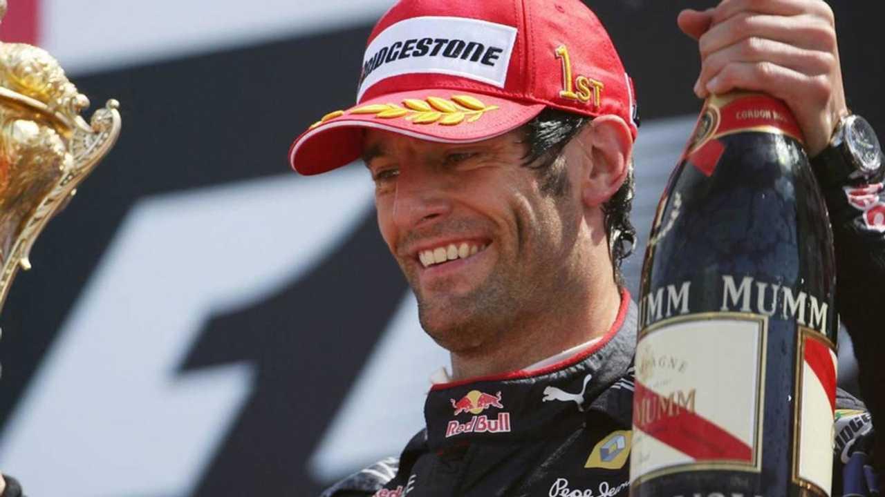 Mark Webber celebrates winning 2010 British Grand Prix at Silverstone