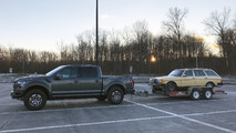 2017 Ford F-150 Raptor towing a 1984 Mercedes-Benz 300TD Wagon