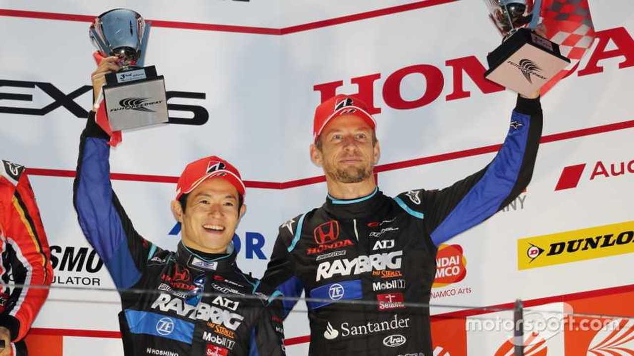 Jenson Button and Naoki Yamamoto on podium for Super GT Fuji 2019