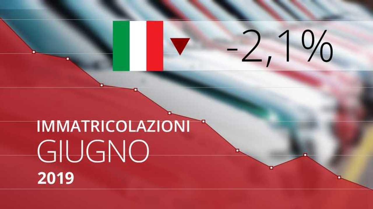 Immatricolazioni auto Italia, giugno 2019