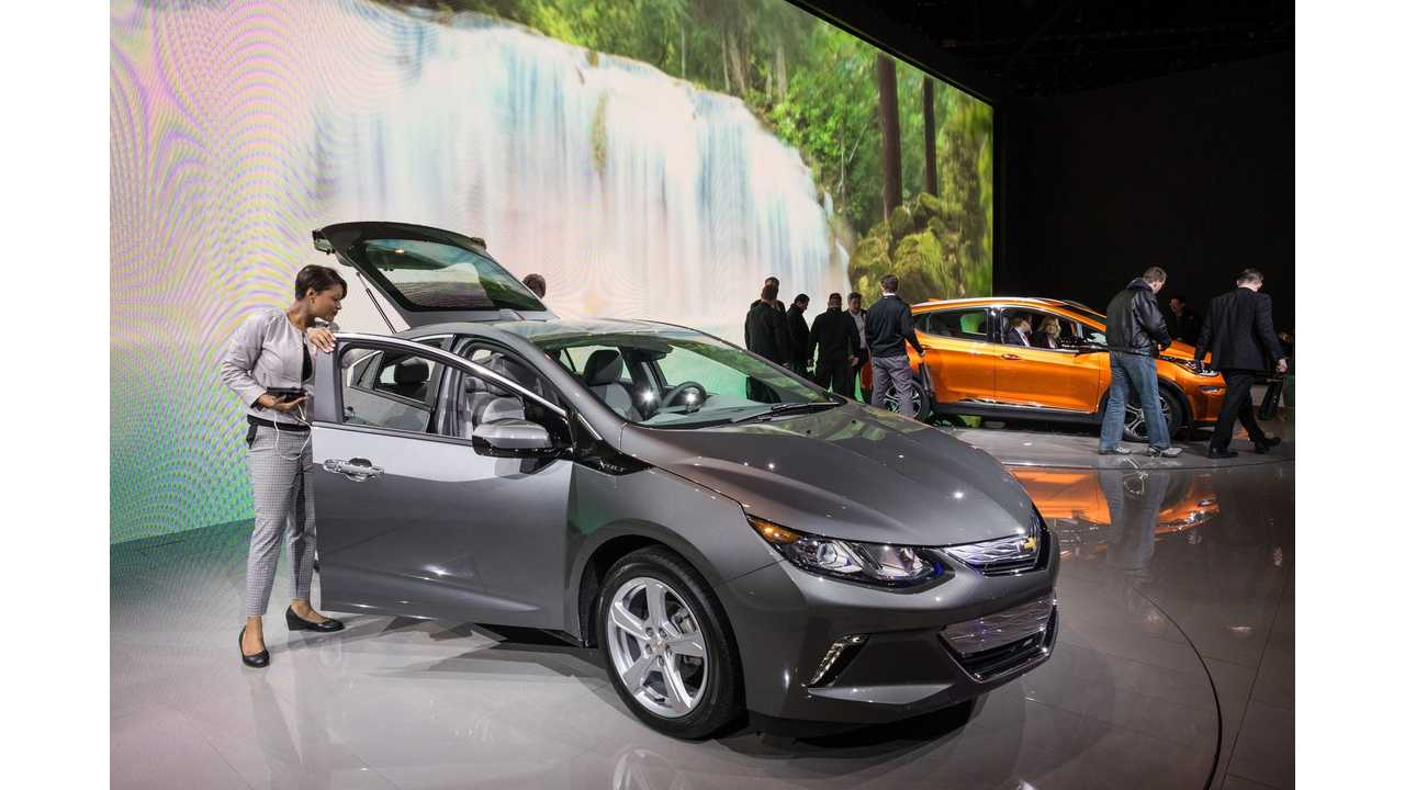 General Motors' Chevy Volt and Bolt have combined this year to approach Tesla's sales figures thus far. (Photo by Steve Fecht for Chevrolet)