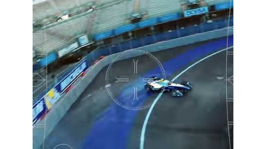 Drone Races Formula E Race Car - Video (Bonus: Formula E Driver Promises Strip Show)