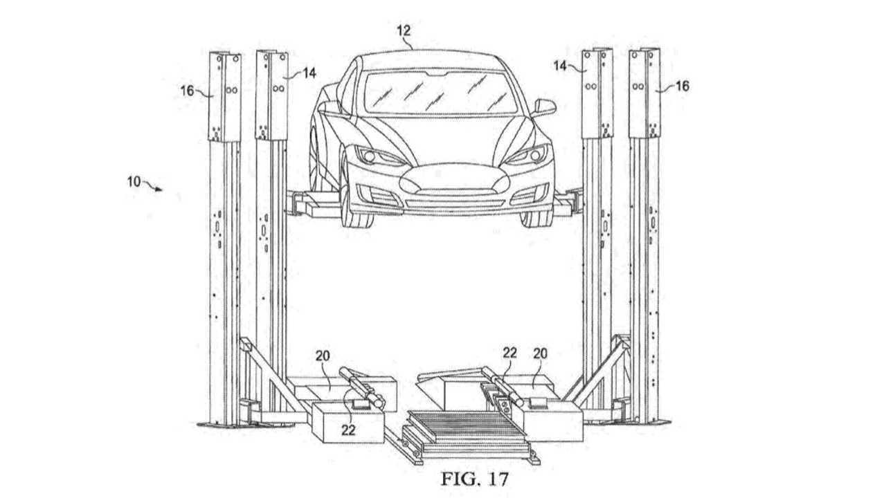 Tesla battery swap patent drawing