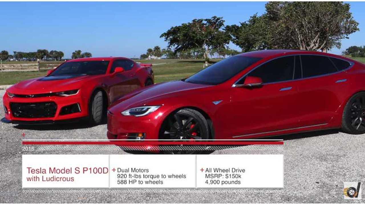 Muscle vs Electric - Tesla Model S P100D Ludicrous vs Chevrolet Camaro ZL1 (DragTimes)
