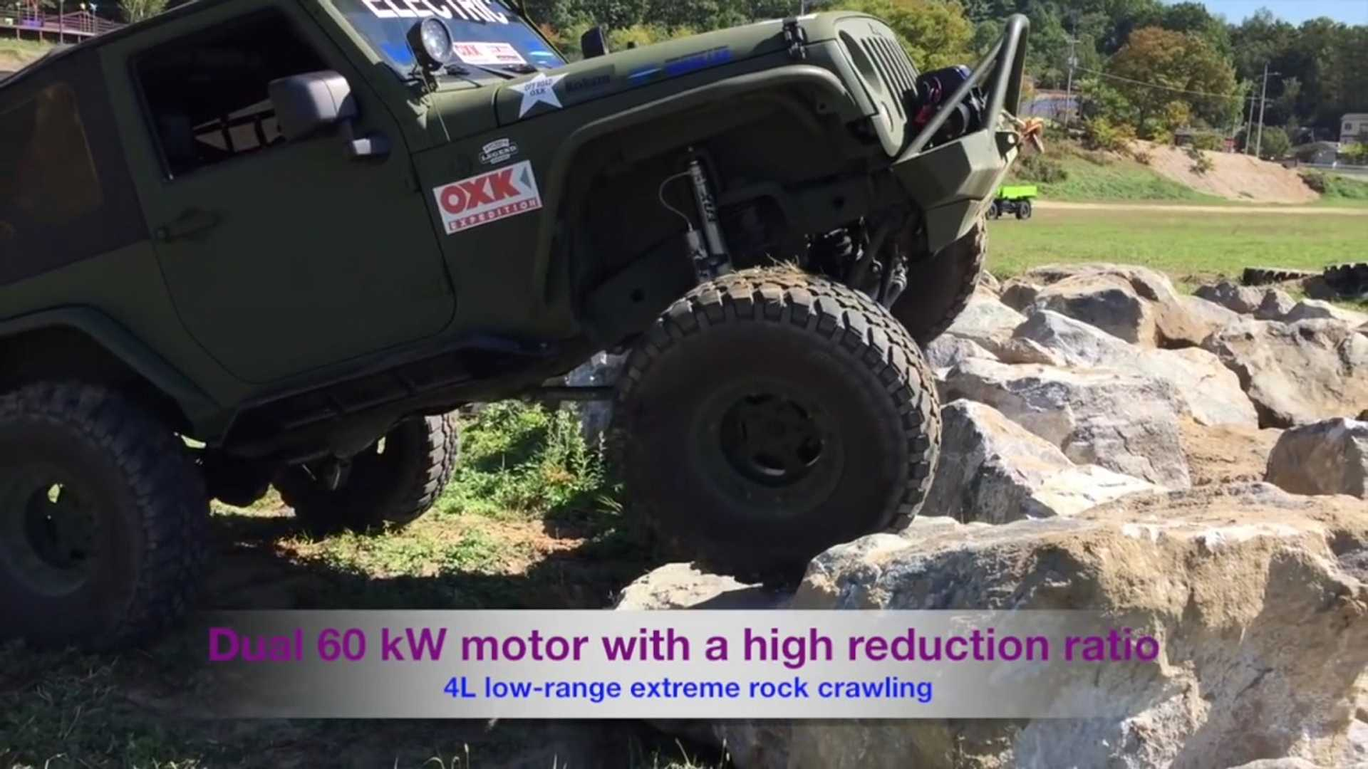 Electric Jeep Wranglers Put Off Roading Petrol Counterparts In Their Place Video
