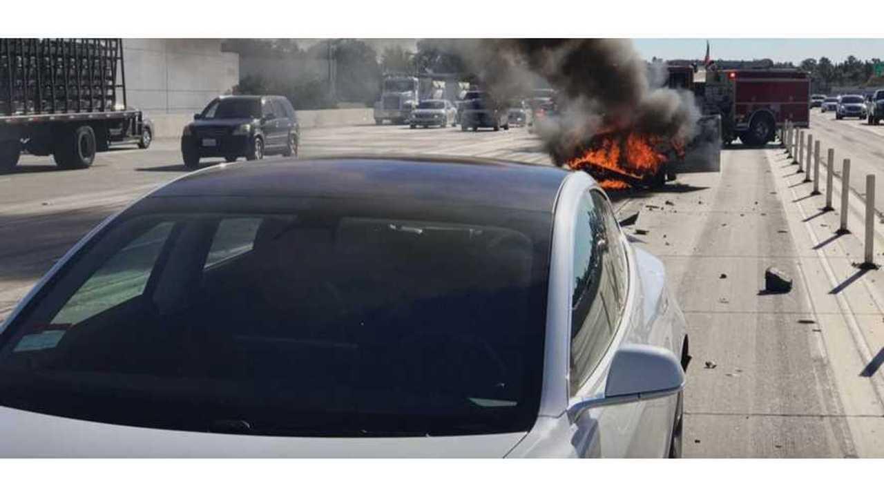Nissan Sentra Slams Into Tesla Model 3 & Then Catches Fire
