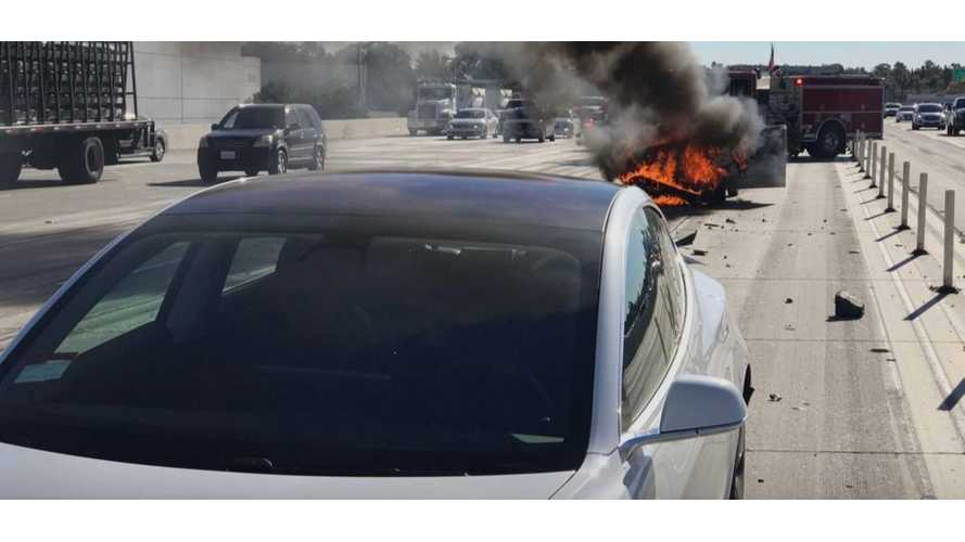 Nissan Sentra Slams Into Tesla Model 3 & Then Catches Fire