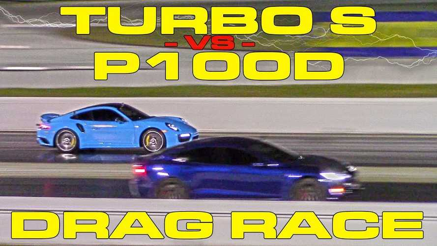 Watch Tesla Model S P100D Race Modded Porsche 911 Turbo S