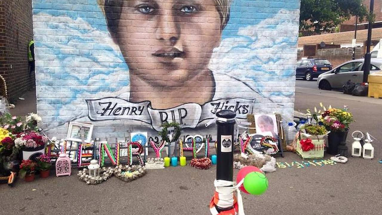 <em>Family members have painted a portrait of Henry Hicks on a wall in North London.</em>