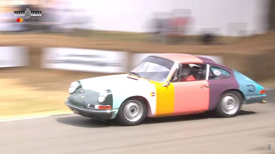 Rainbow-coloured Porsche 911 goes full-attack on Goodwood hill