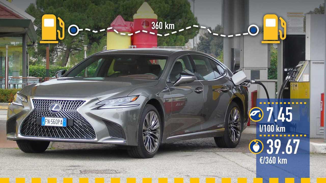 Lexus LS 500h, la prova consumi