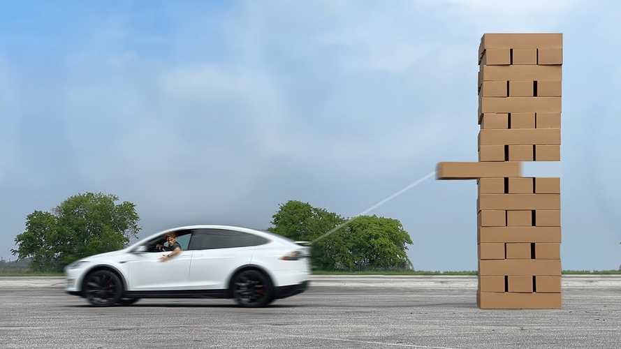 Watch This Tesla Model X Play Giant Jenga: It's Epic And So Much Fun