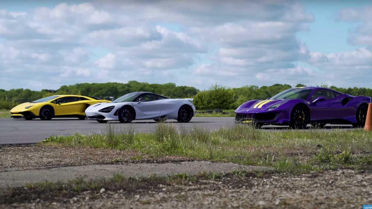 McLaren 720S, Ferrari 488 Pista, Lamborghini Aventador SV gyorsulási verseny