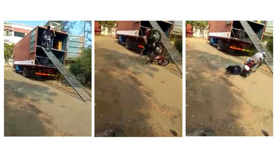 Viral Video Shows Royal Enfield Falling Off Trailer