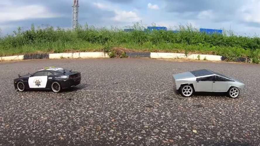 Watch Tiny Tesla Cybertruck Face Off Against Camaro ZL-1 Cop Car