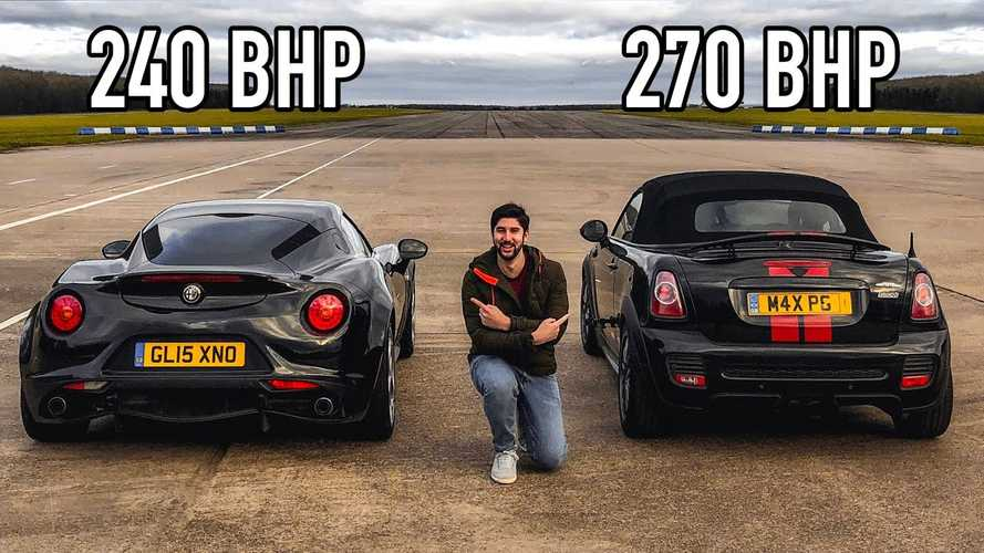 Alfa Romeo 4C Fights Mini JCW Roadster In Rare Drag Race