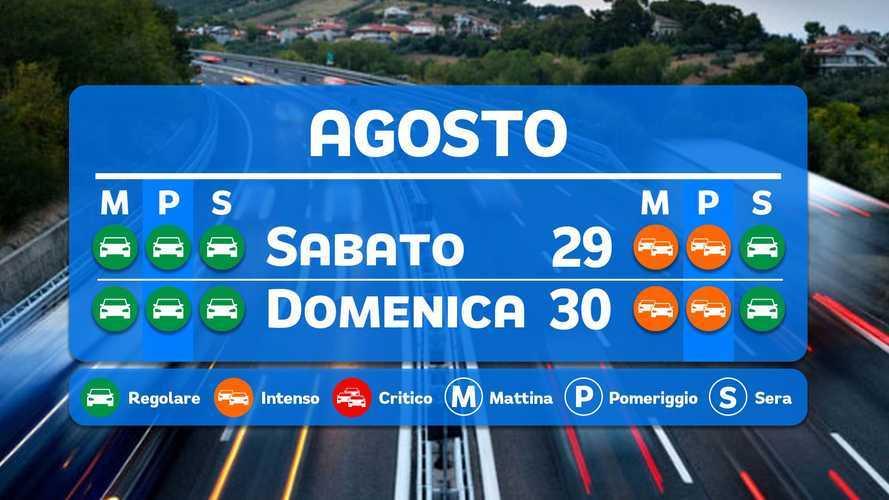 Le previsioni del traffico per il week-end 29 e 30 agosto