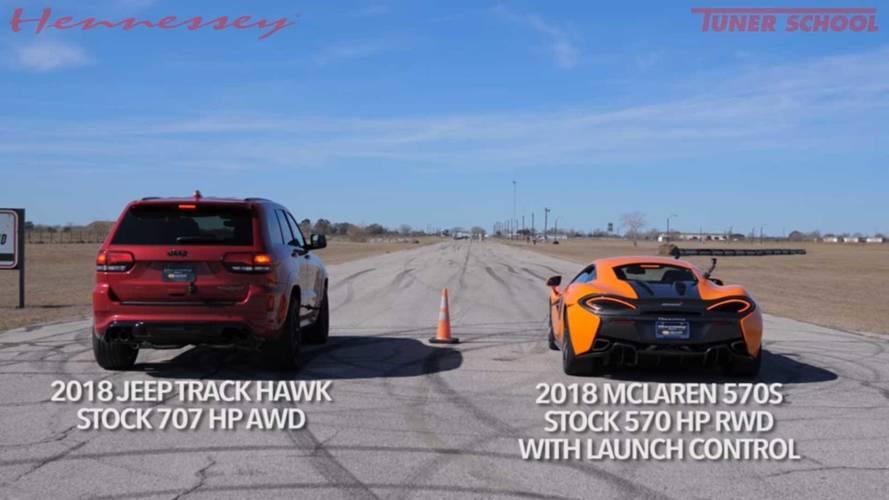 Jeep Grand Cherokee Trackhawk ile McLaren 570S'in drag yarışı