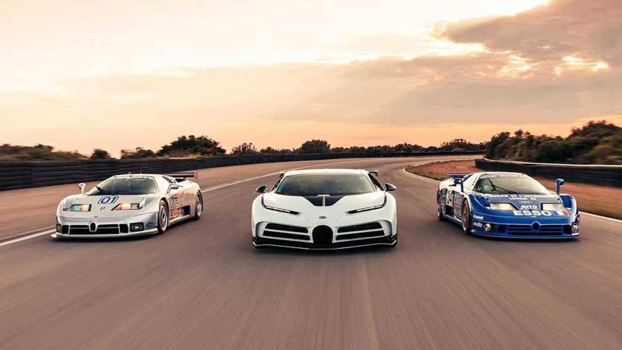 Der Bugatti Centodieci und zwei EB 110
