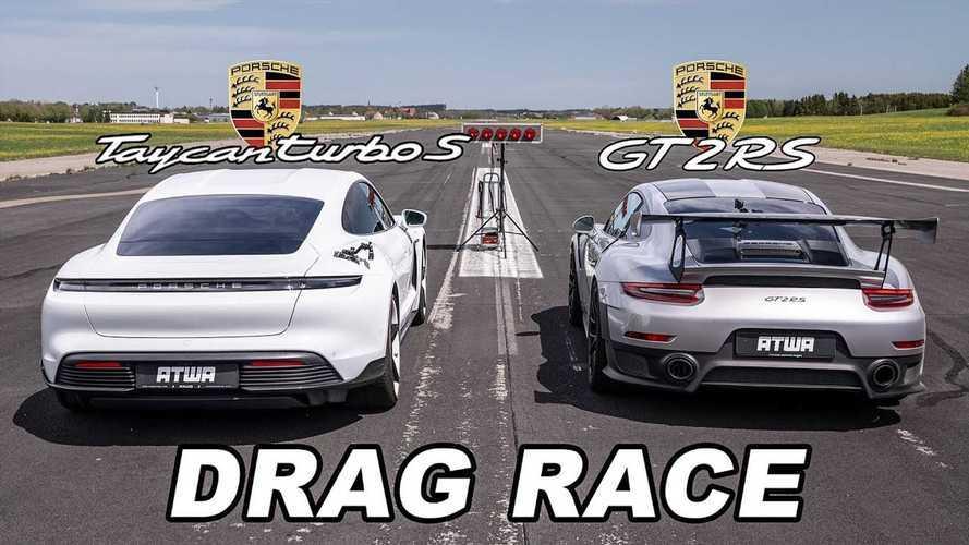 Porsche Taycan Turbo S'in bir 911 GT2 RS ile yarışını izleyin