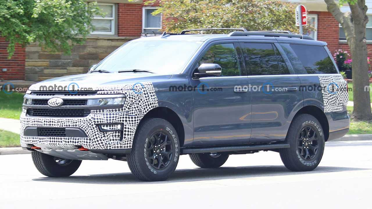 A profile view of the 2022 Ford Expedition Timberline in pre-production form.