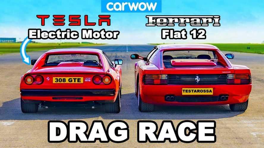 Watch Tesla-Powered Ferrari 308 GTS Drag Race Ferrari Testarossa