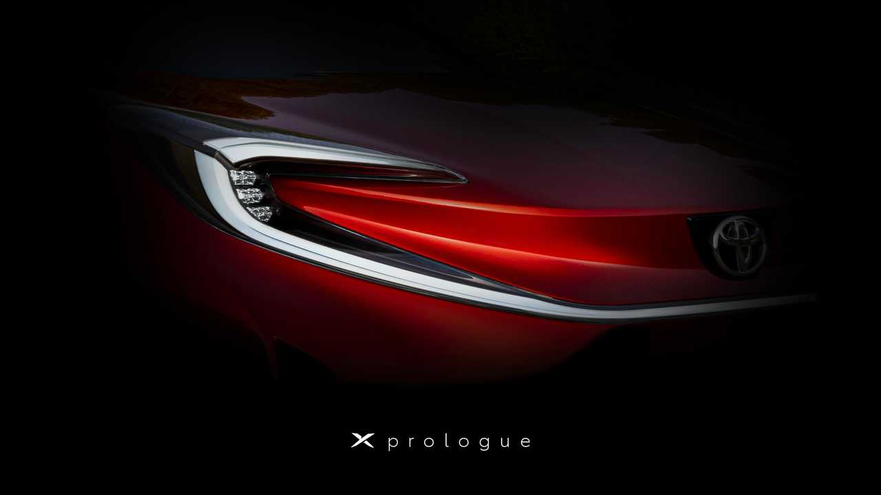 Toyota Prologue X teaser image in front.