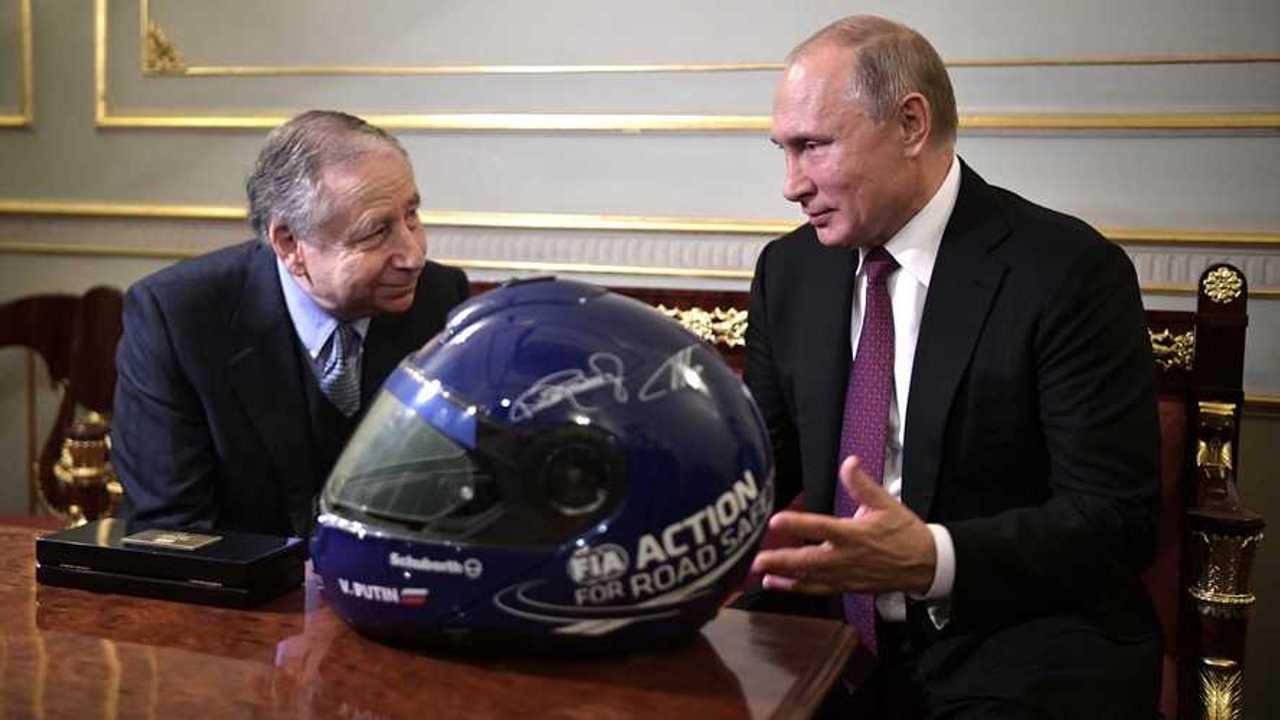 Vladimir Putin, President of Russia and Jean Todt, President of the Federation Internationale de l'Automobile (FIA)
