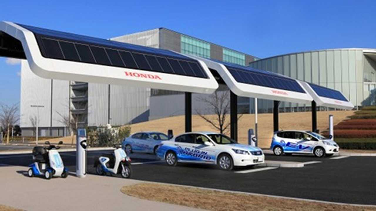No Where Is The Combination Of Solar Charging And EVs More Prominent Than Japan. (Honda's solar charging station in Japan shown)