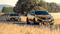 Honda Civic Type R y NSX dorados