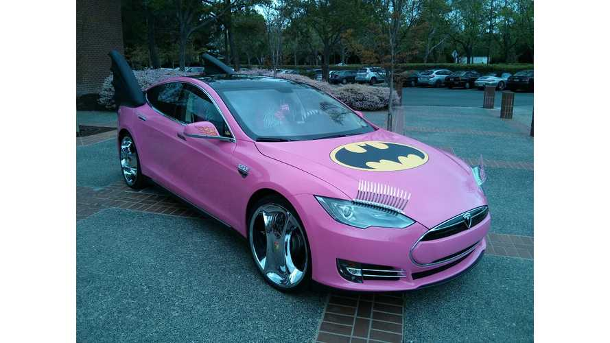 Google Co-Founder's Tesla Model S Gets Pranked with Eyelashed Pink Batmobile Treatment