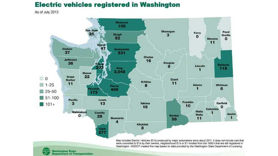 State of Washington Home to Well Over 5,000 Plug-In Vehicles: Here's Your County-by-County Breakdown