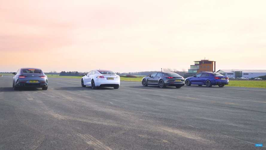Tesla faces Panamera Hybrid, AMG GT 63 and M5 in saloon drag race