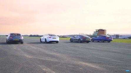 Tesla Faces Panamera Hybrid, AMG GT 63 And M5 In Sedan Drag Race