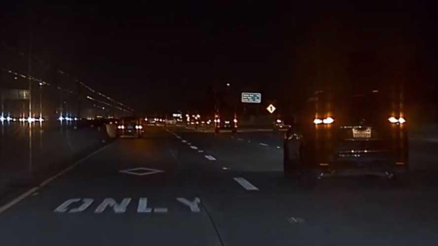 Watch Tesla Dashcam Capture Honda Smashing Into Wall: Video