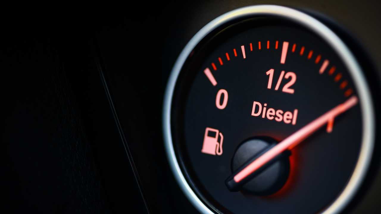Close-up shot of diesel fuel gauge in car