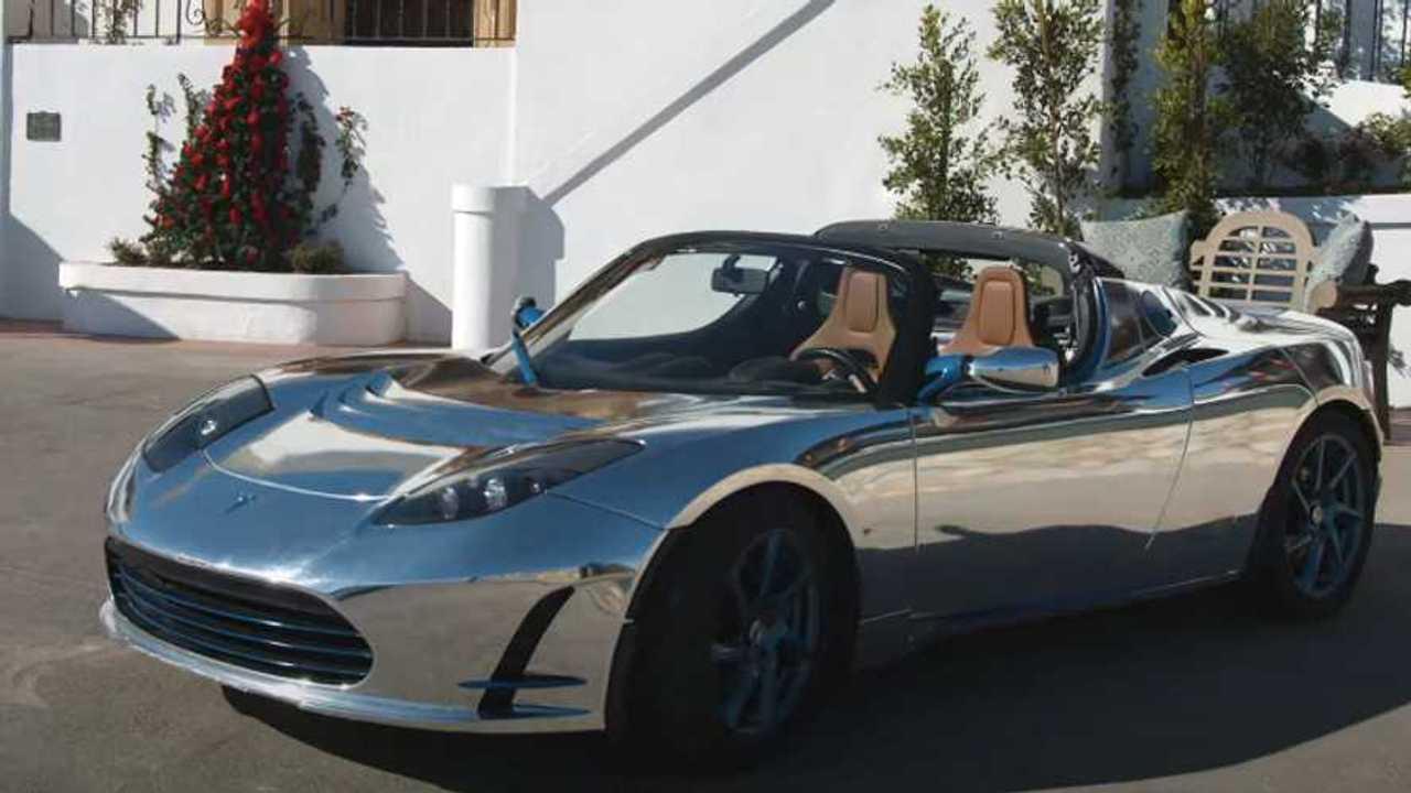 Tesla Roadster chrome wrap
