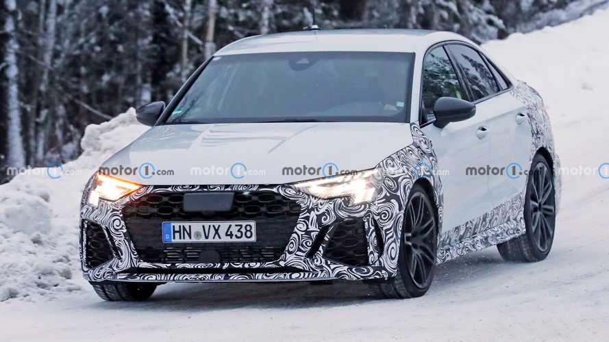 New Audi RS3 saloon spied putting Quattro to work during snowy test