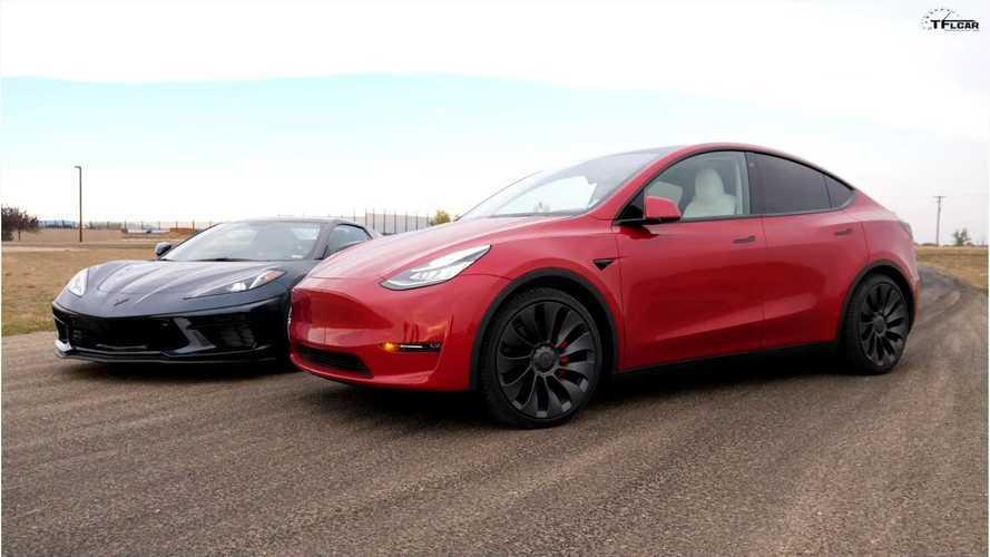 Watch Tesla Model Y Crossover Race New Chevy Corvette C8 Stingray