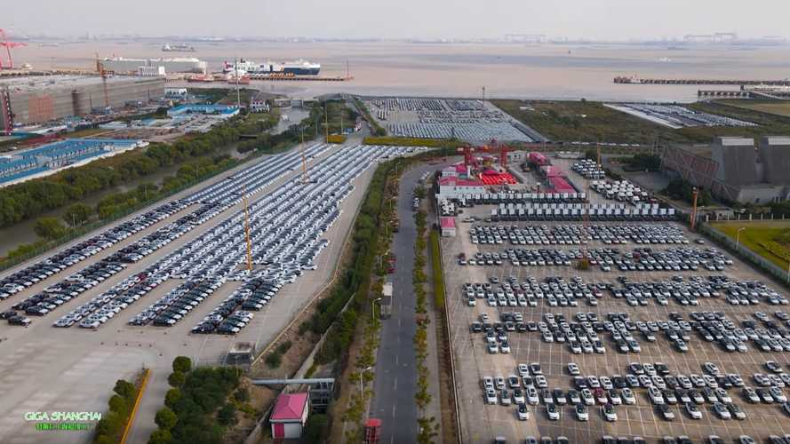 See China-Made Tesla Model 3s Wait In Port For Export To Europe