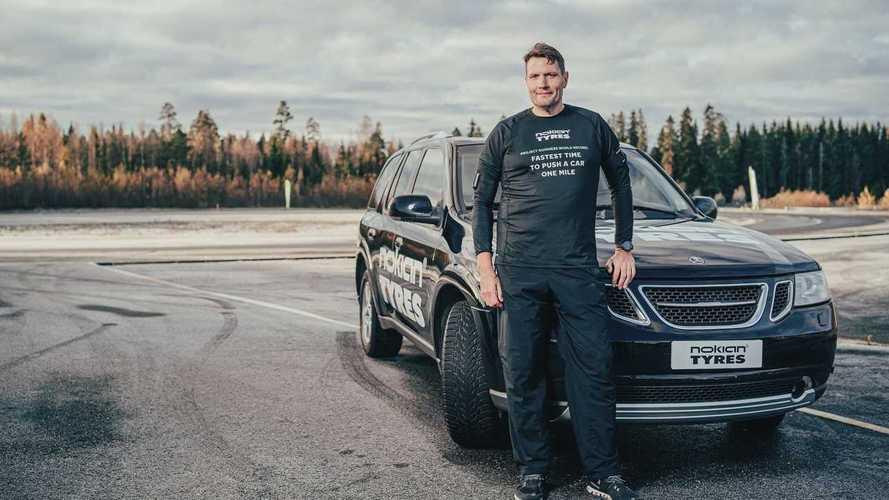 Мировой рекорд по скоростному толканию машины на милю