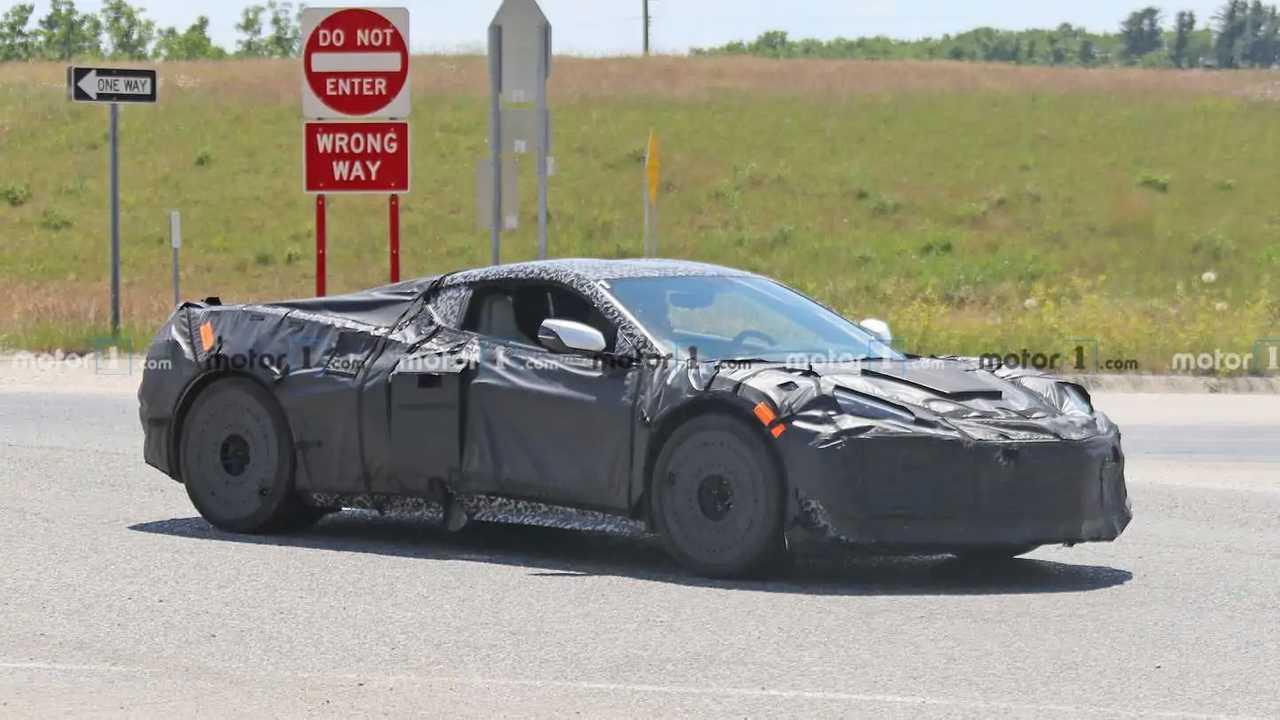 A 2022 Chevrolet Corvette Z06 prototype caught on the street.
