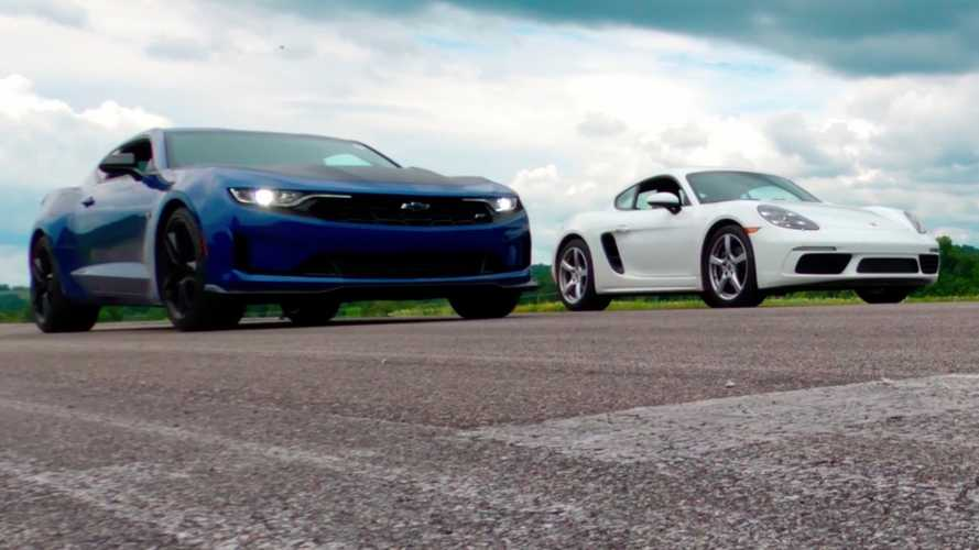 See Chevy Camaro drag race Porsche 718 Cayman in turbo 2.0-litre fight