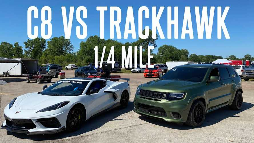 Watch 900-HP Jeep Trackhawk Drag Race Corvette C8, Tuned Escalade