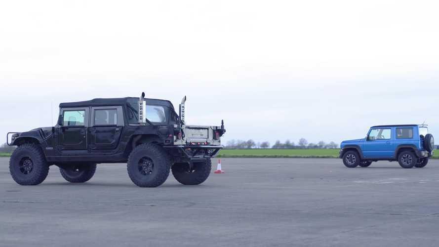 Hummer H1 ile Suzuki Jimny'nin drag yarışını izleyin