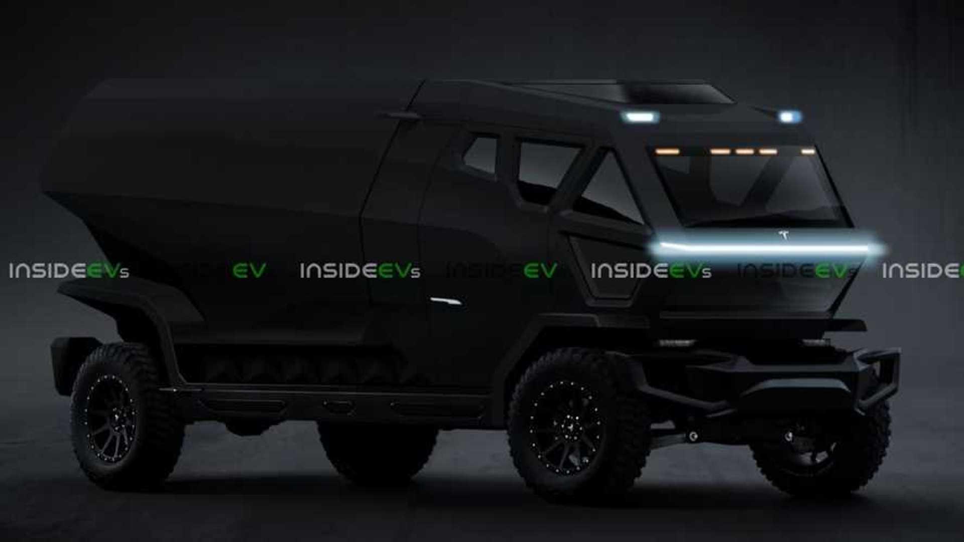 Tesla Pickup Truck Render Looks Bold Sinister And Bad In Black