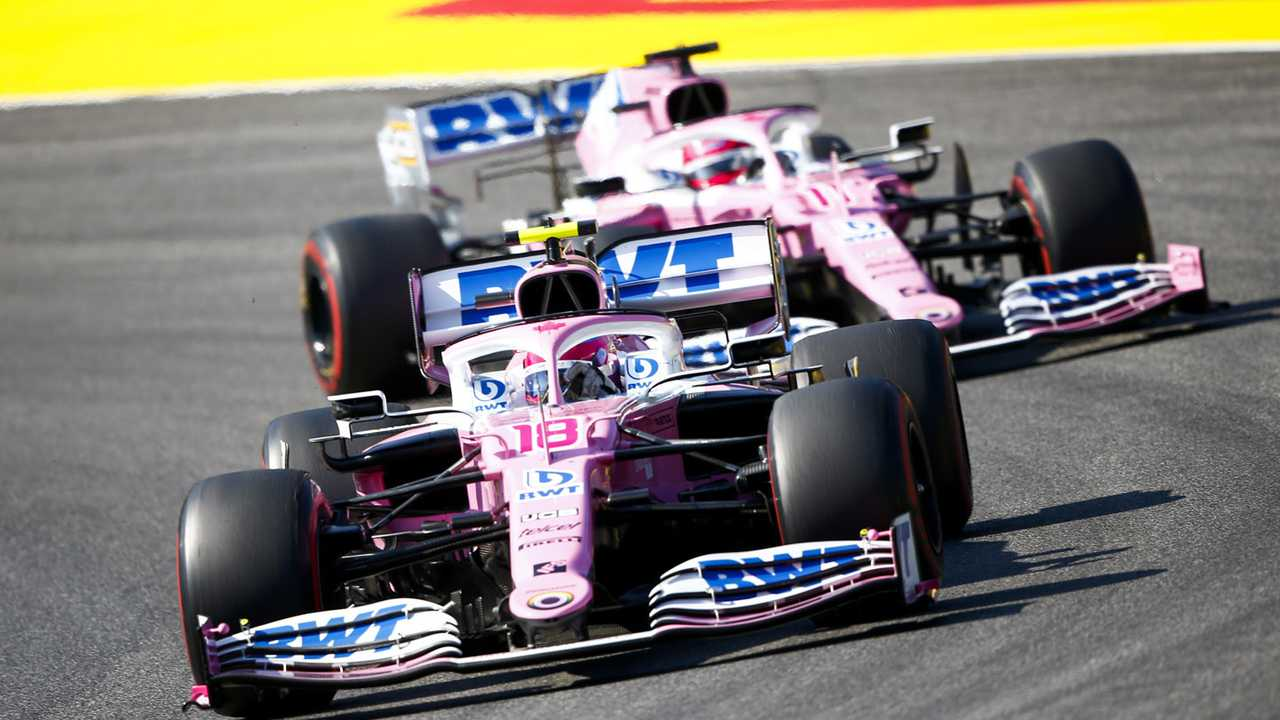 Lance Stroll, Racing Point RP20, Sergio Perez, Racing Point RP20