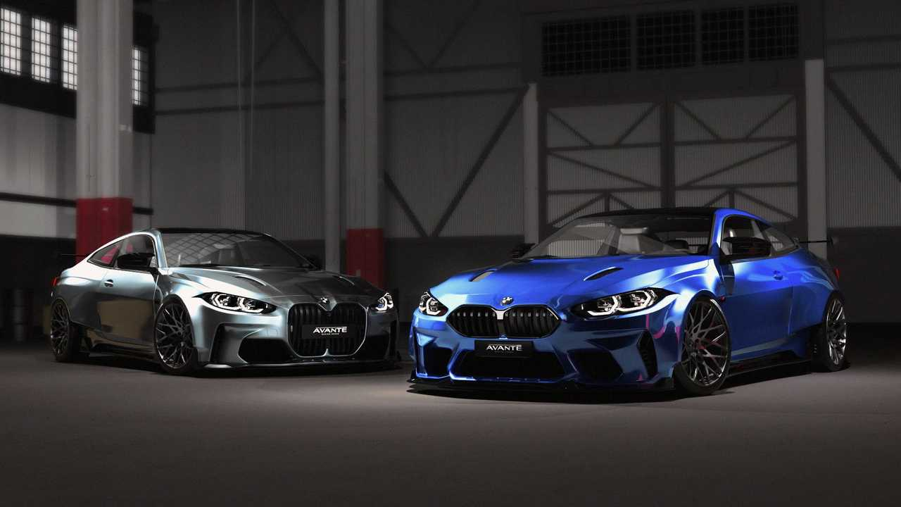 Custom BMW M4 Widebody with normal-size grille and with the big kidneys
