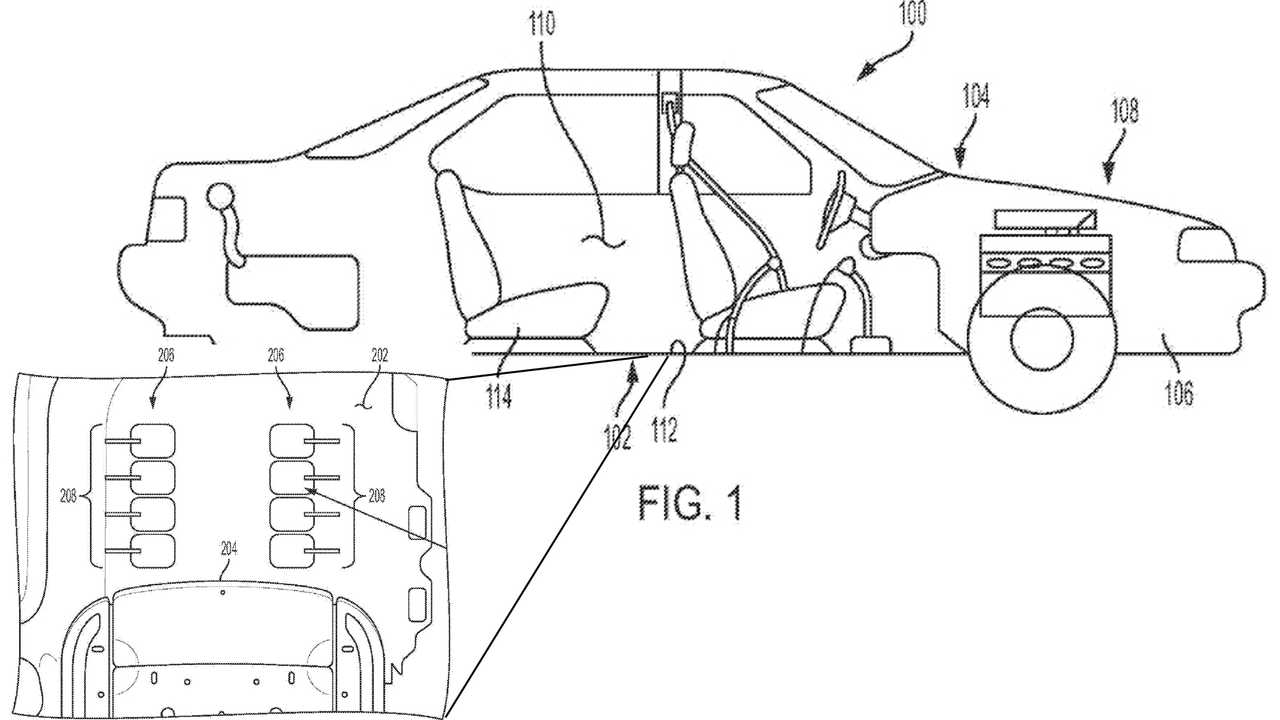 This General Motors patent application sketch shows how a floor-mounted foot massage system for vehicles might work.