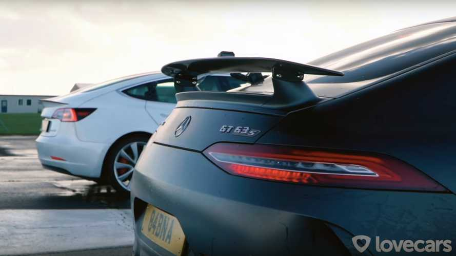 Watch Tesla Model 3 Performance Race Mercedes-AMG GT63S Four-Door